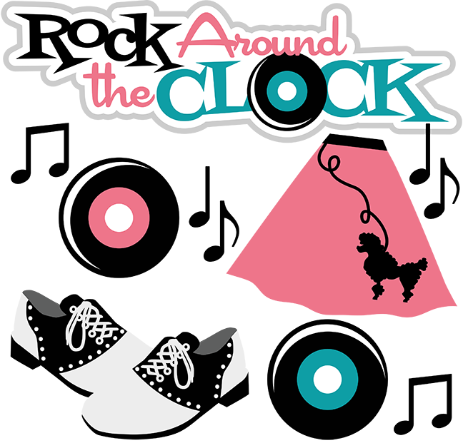 jpg download Rock around the clock. Advertising clipart 50's