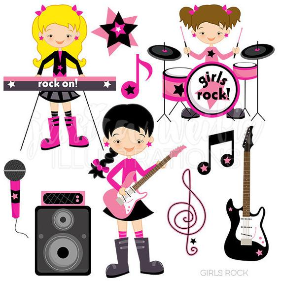 picture library Rockstar clipart vintage star. Girls rock cute digital
