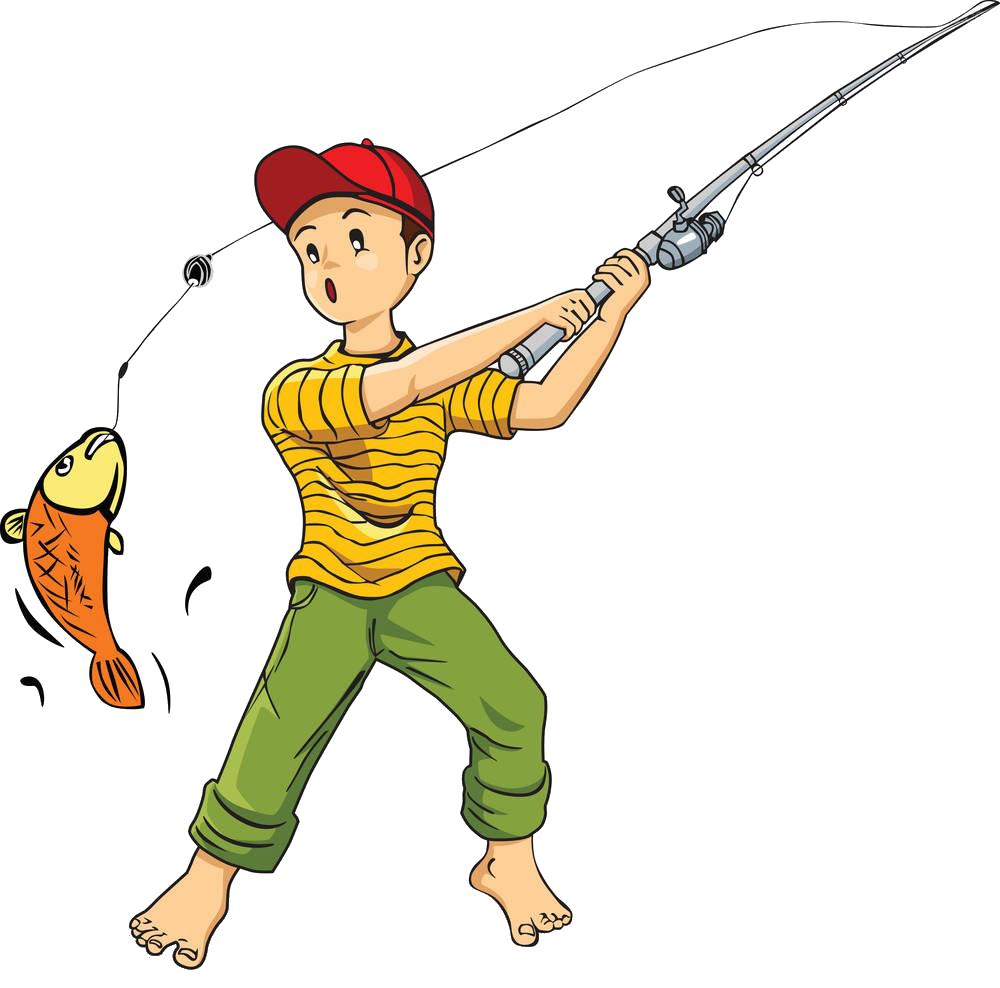 free stock Fishing cartoon clip art. Rod clipart.