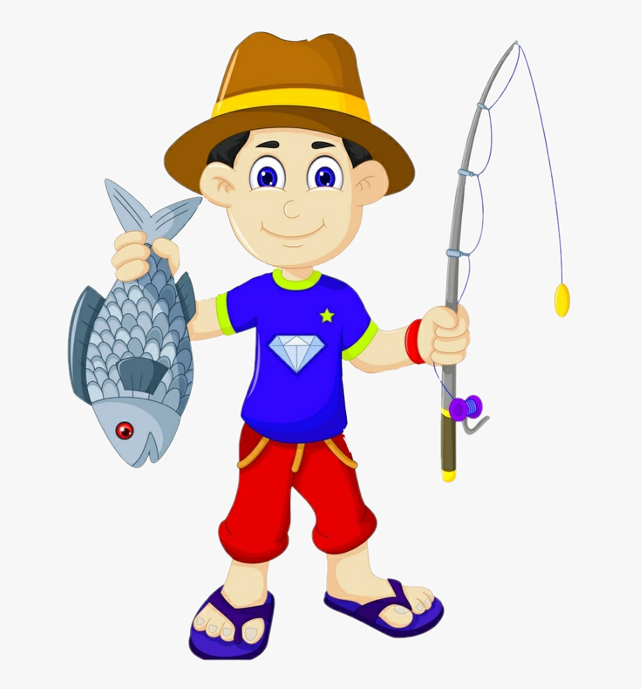 download Rod clipart fishing hat. Boy fish sticker angler.