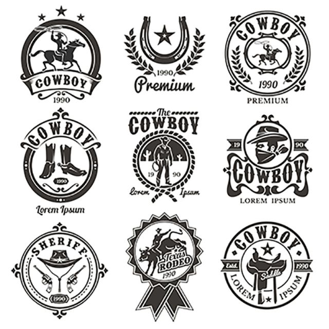 jpg free stock Rodeo vector. Set of logos western.