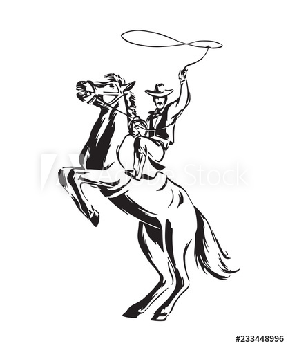 png black and white Hand drawn cowboy with. Rodeo vector.
