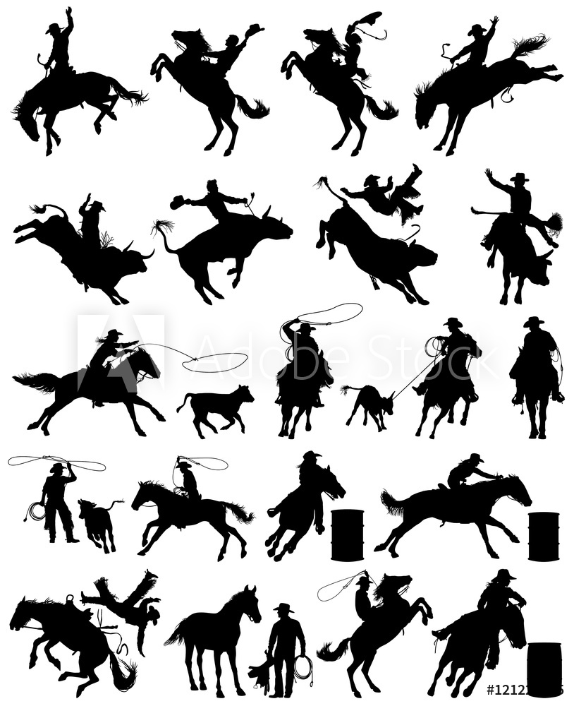 clipart black and white Fotografie obraz cowboy and. Rodeo vector.
