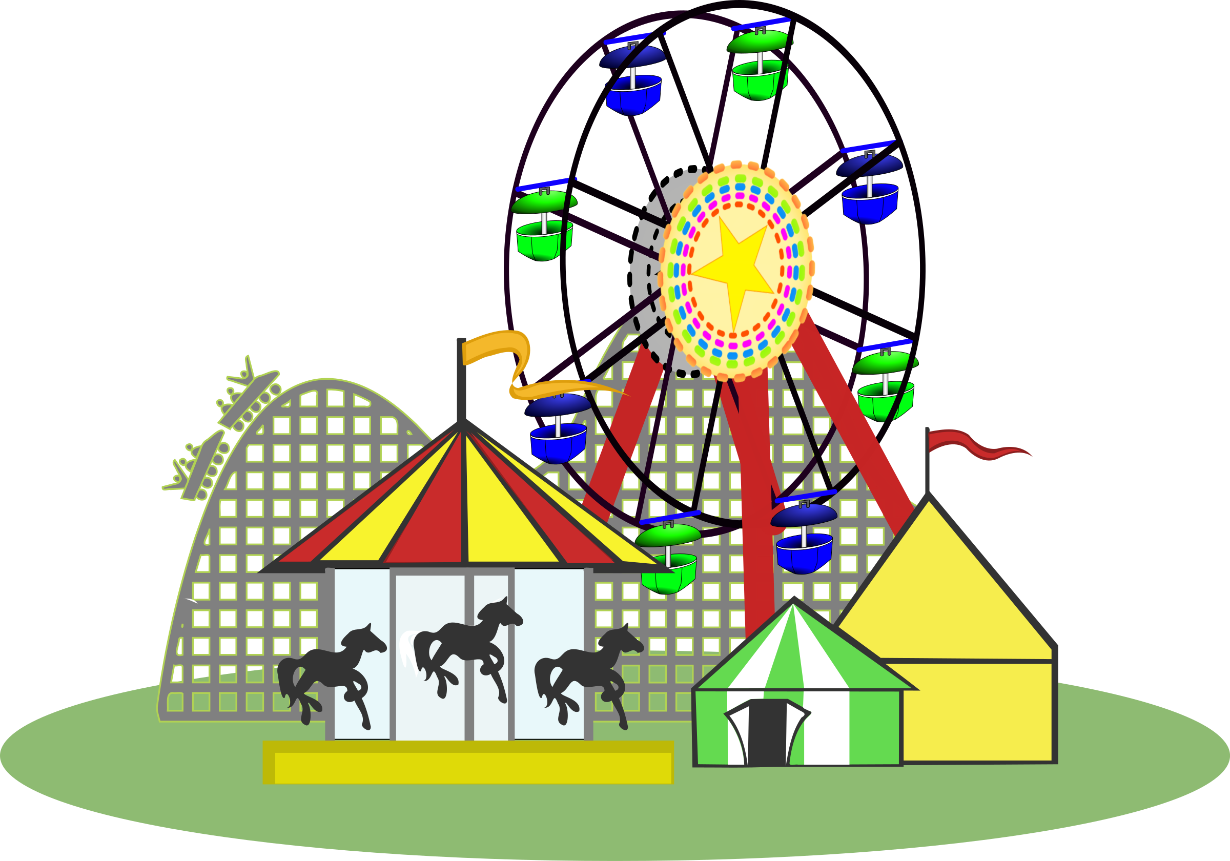 clip free stock Carnival color big image. Roller coaster clipart ferris wheel