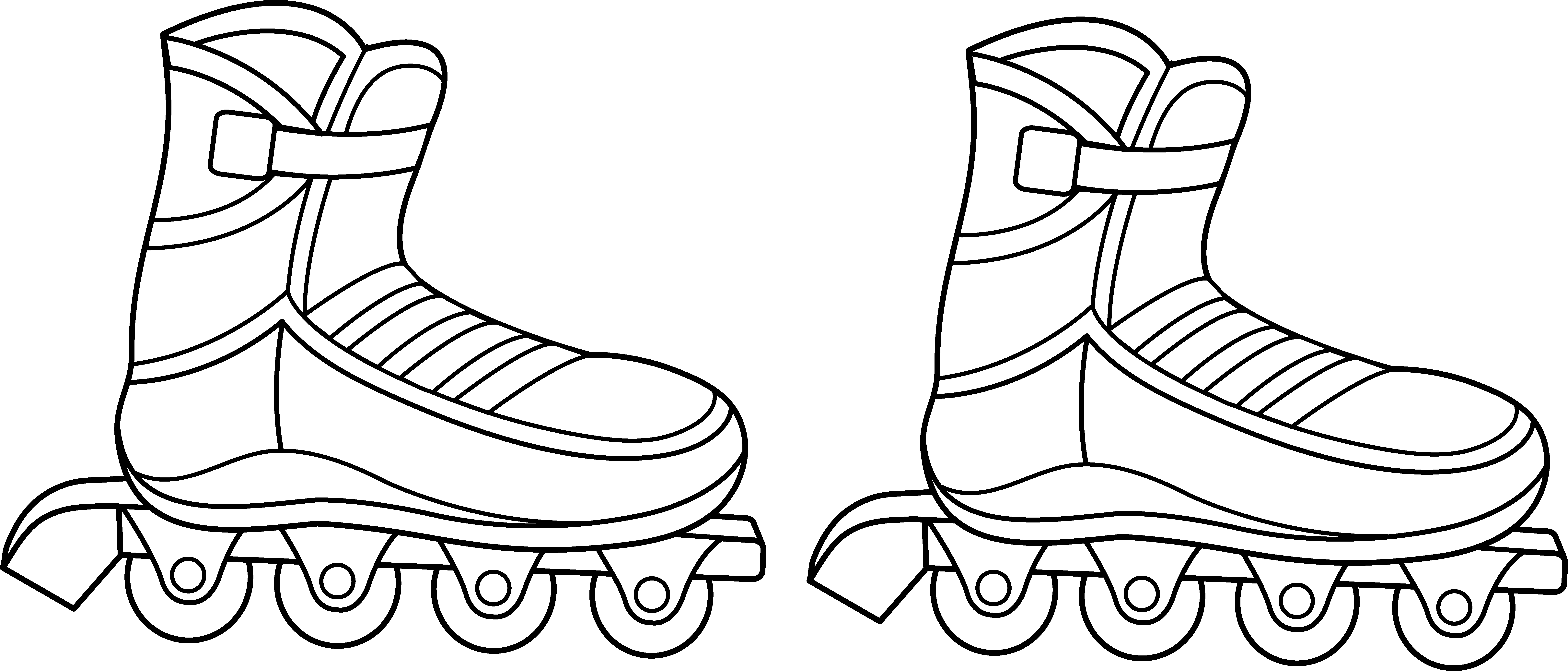 jpg library Rollerblades Colorable Line Art