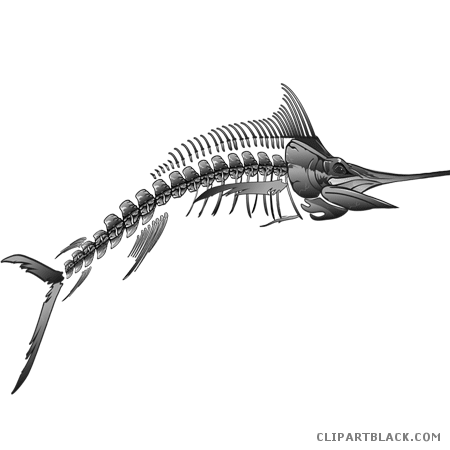 svg black and white library Rolling hills clipart black and white. Fish skeleton animal free