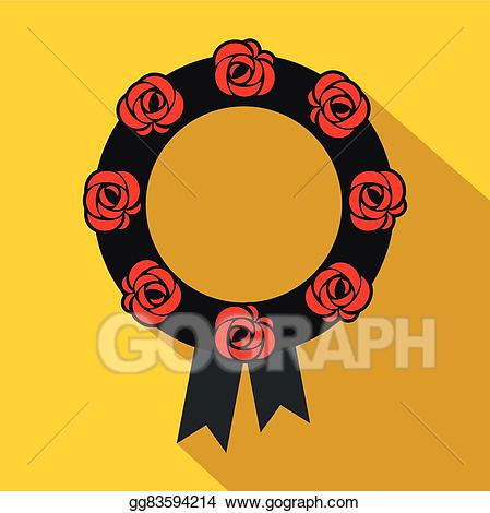 vector transparent Illustration flat icon eps. Roman vector funeral wreath