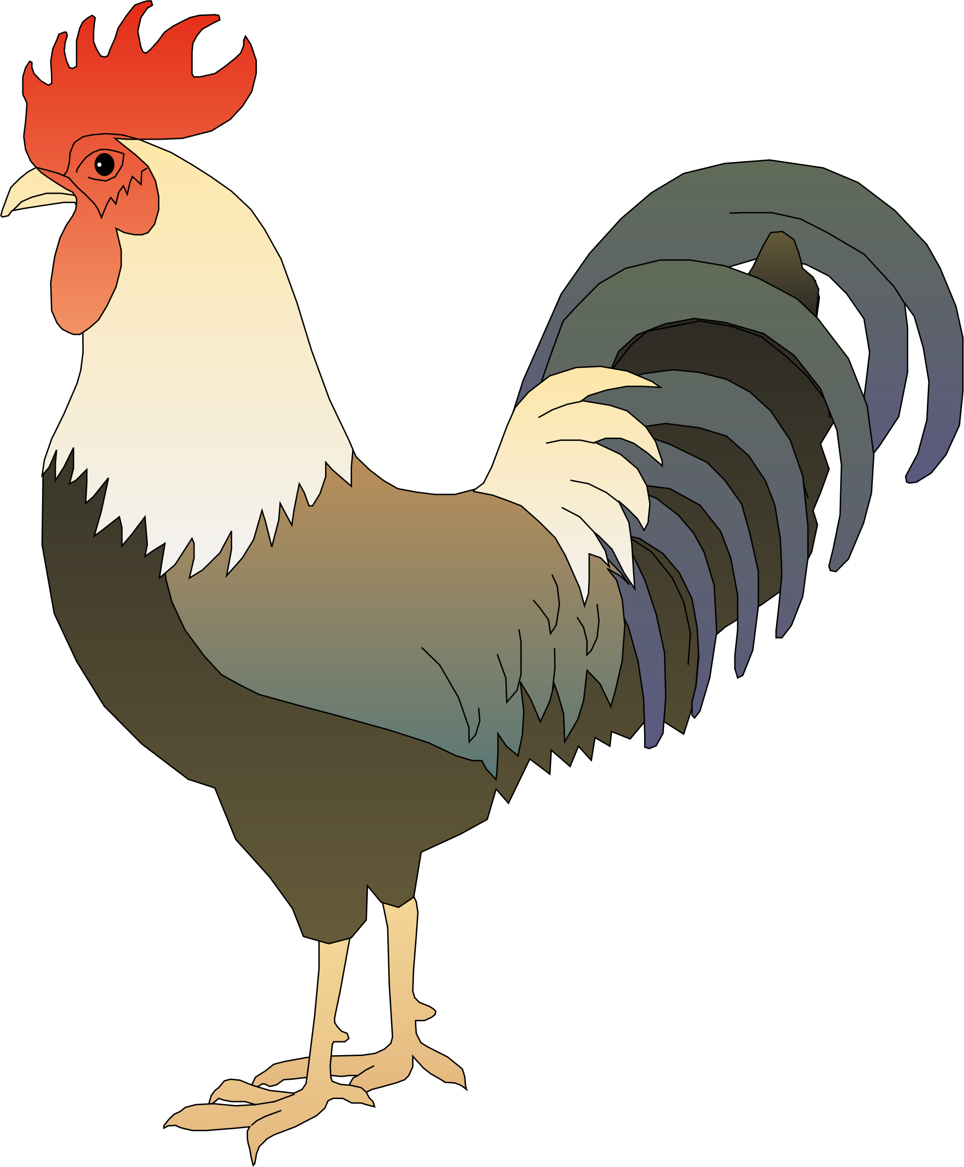 picture black and white library Rooster clipart. .