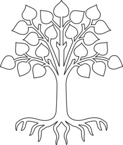 black and white download Tree Roots Outline Clipart