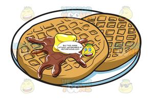 vector transparent library Waffles for breakfast . Round waffle clipart