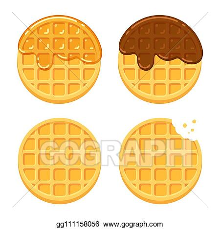 clip art library library Round waffle clipart. Eps illustration waffles set