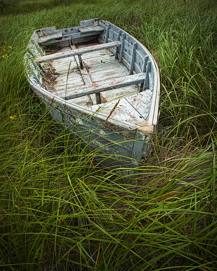 image freeuse Old Weathered Row Boat Abandoned In The Grass On Pei No