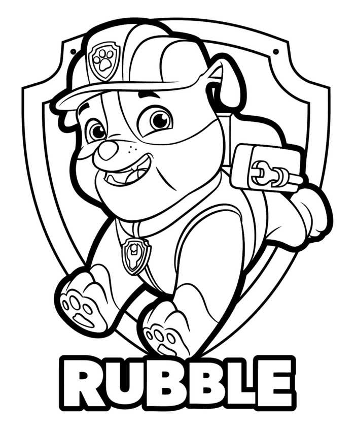 banner royalty free Rubble Paw Patrol Coloring Pages