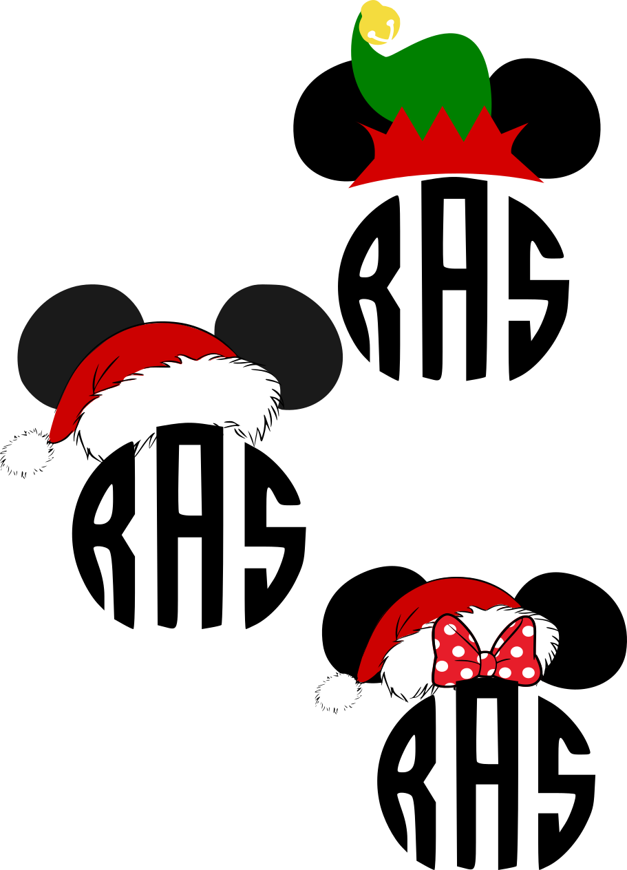 banner black and white download Beautiful Mickey Santa Hat Monogram SVG set for Christmas tags