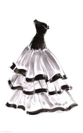 stock Evening Gown with Ruffles Print by Tina