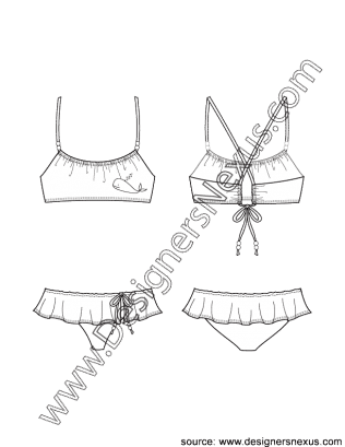 svg transparent library Scoop neck bikini top. Drawing ruffles illustration