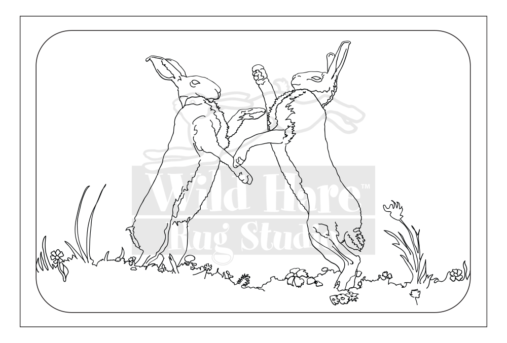 black and white stock March Hares Rug Pattern