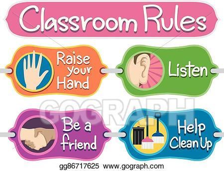 graphic royalty free stock Vector classroom bulletin elements. Rules clipart.