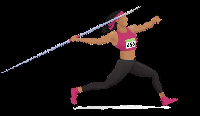 royalty free Women s javelin approach. Run clipart.