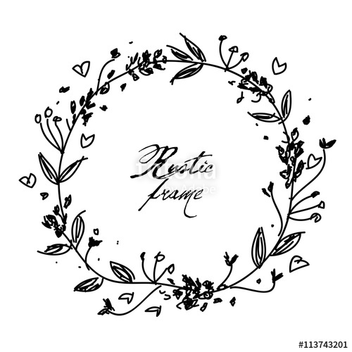 vector library Beautiful hand drawn floral rustic wreath vector