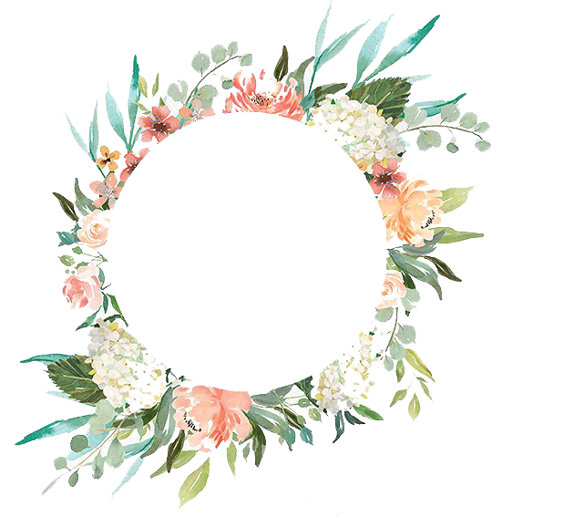 clip freeuse download Watercolor Wreath With Flowers PNG