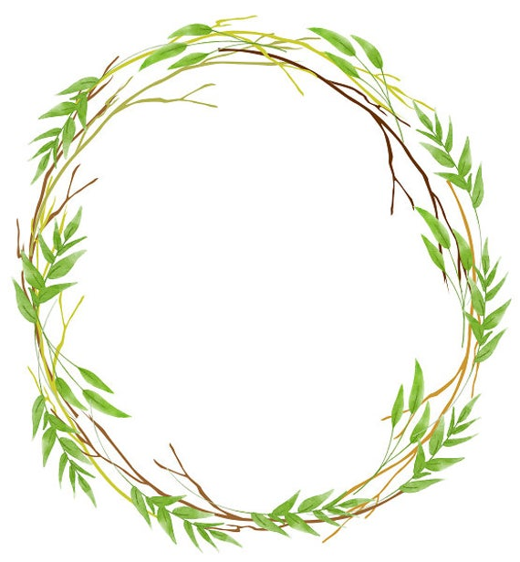 image library stock Rustic wreath clipart. Greenery leafy