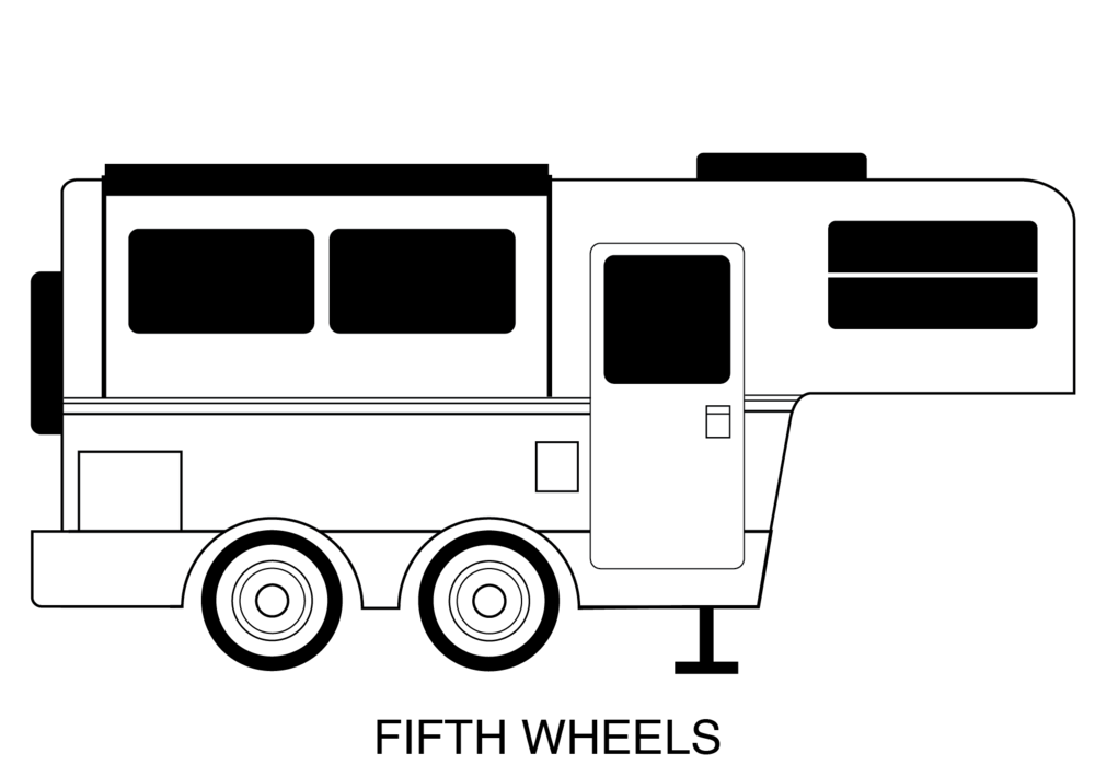 vector black and white stock Fifth wheel camper clipart. Summit rv fifthwheelbwpng