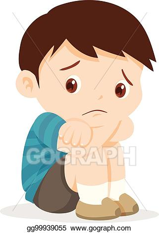 jpg black and white stock Vector illustration boy sitting. Sad clipart.