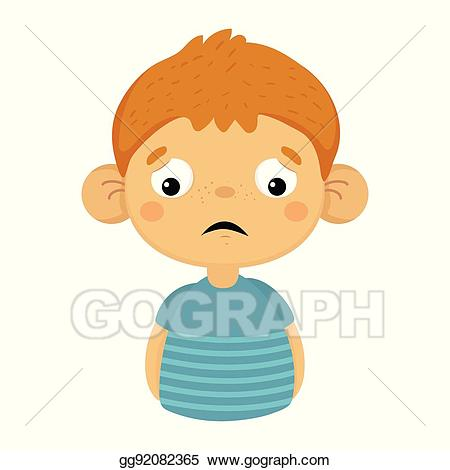 png black and white stock Eps illustration sad and. Sadness clipart disappointed child
