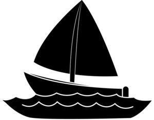 png black and white Sail drift boat picture. Yacht clipart fishing ocean