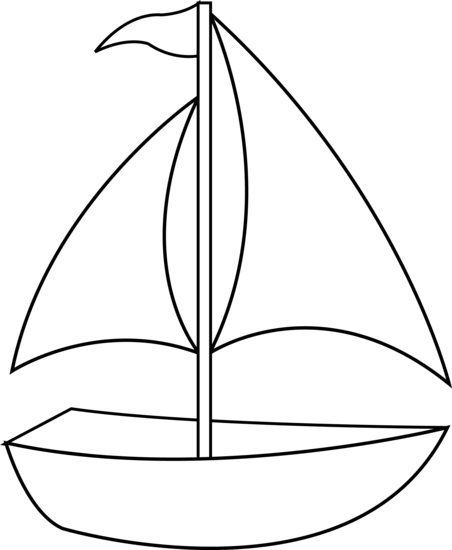jpg transparent library Sailboat clip art colorable. Boats drawing black and white