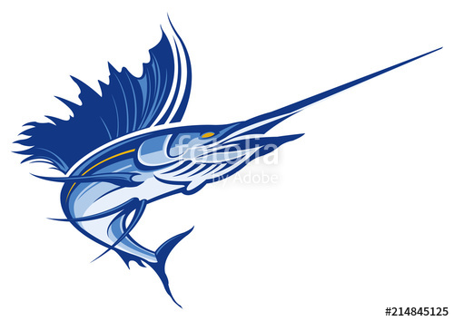 black and white stock Sailfish vector. Stock image and royalty