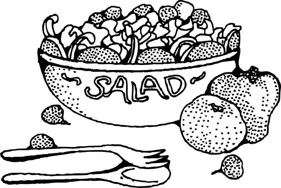 svg black and white library Fruit coloring page democraciaejustica. Salad clipart black and white