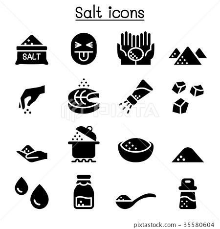 svg black and white stock Salt vector. Icon set illustration graphic