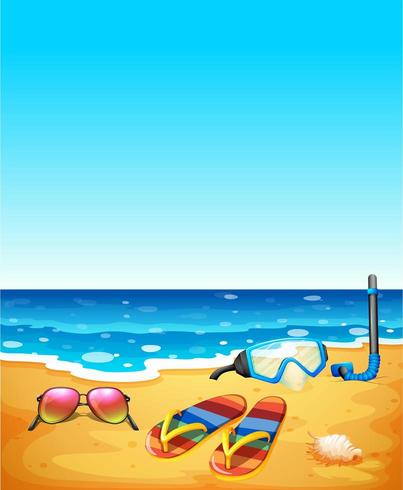 jpg free download Scene with beach and. Sandals clipart sunglasses