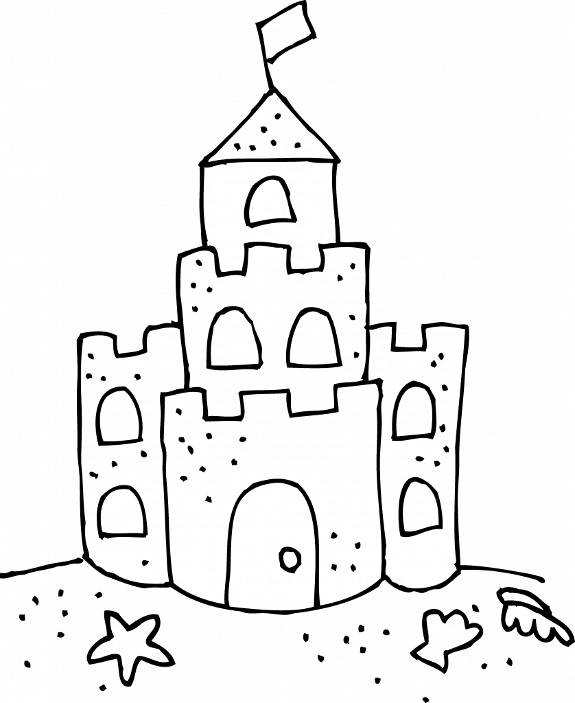 picture transparent library Sand Castle Coloring Page