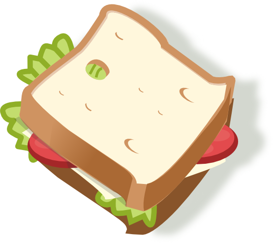 image black and white download Half Sandwich Clipart