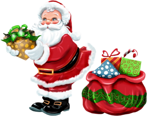banner transparent download Transparent Santa Claus with Gold Gift PNG Clipart