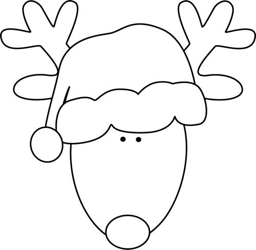 picture free stock Black and White Reindeer Head and Santa Hat Clip Art