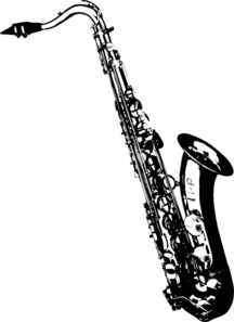 image black and white Saxophone clipart black and white. Tilted sax clip art