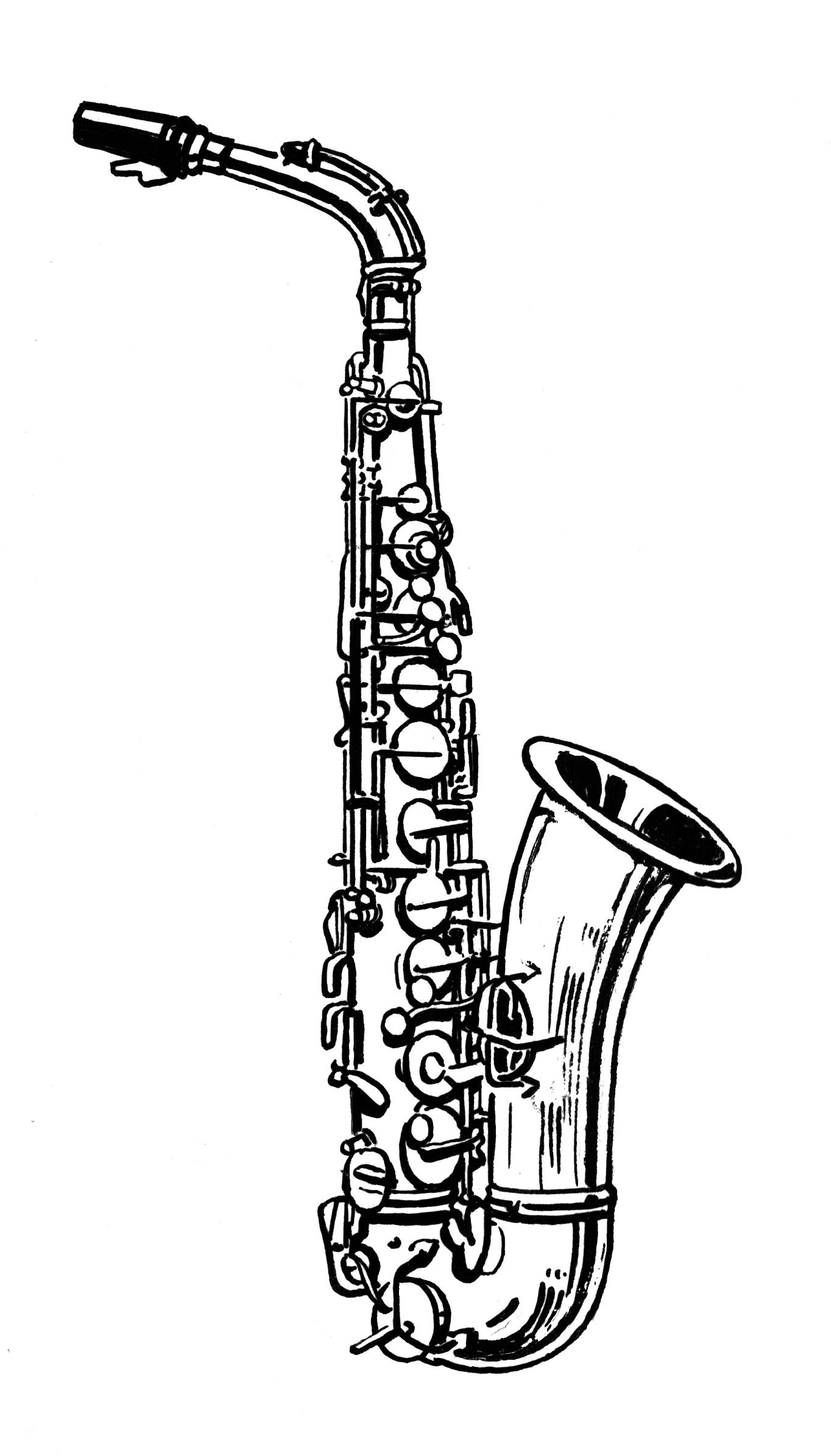 clip art freeuse stock Saxophone clipart black and white. Musica pinterest saxophones clip