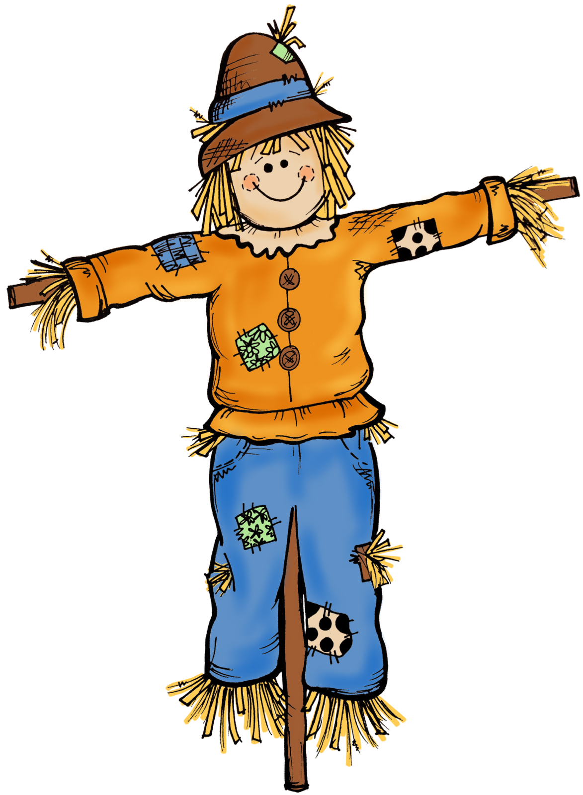 svg black and white download Autumn . Scarecrow clipart.