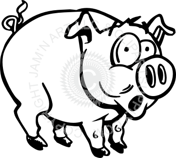 svg black and white Scared drawing. Pig