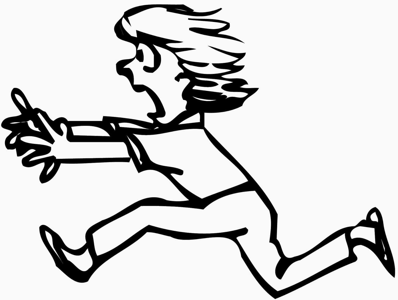 clip library stock Scared drawing black and white. Girl running clipart clipartfest