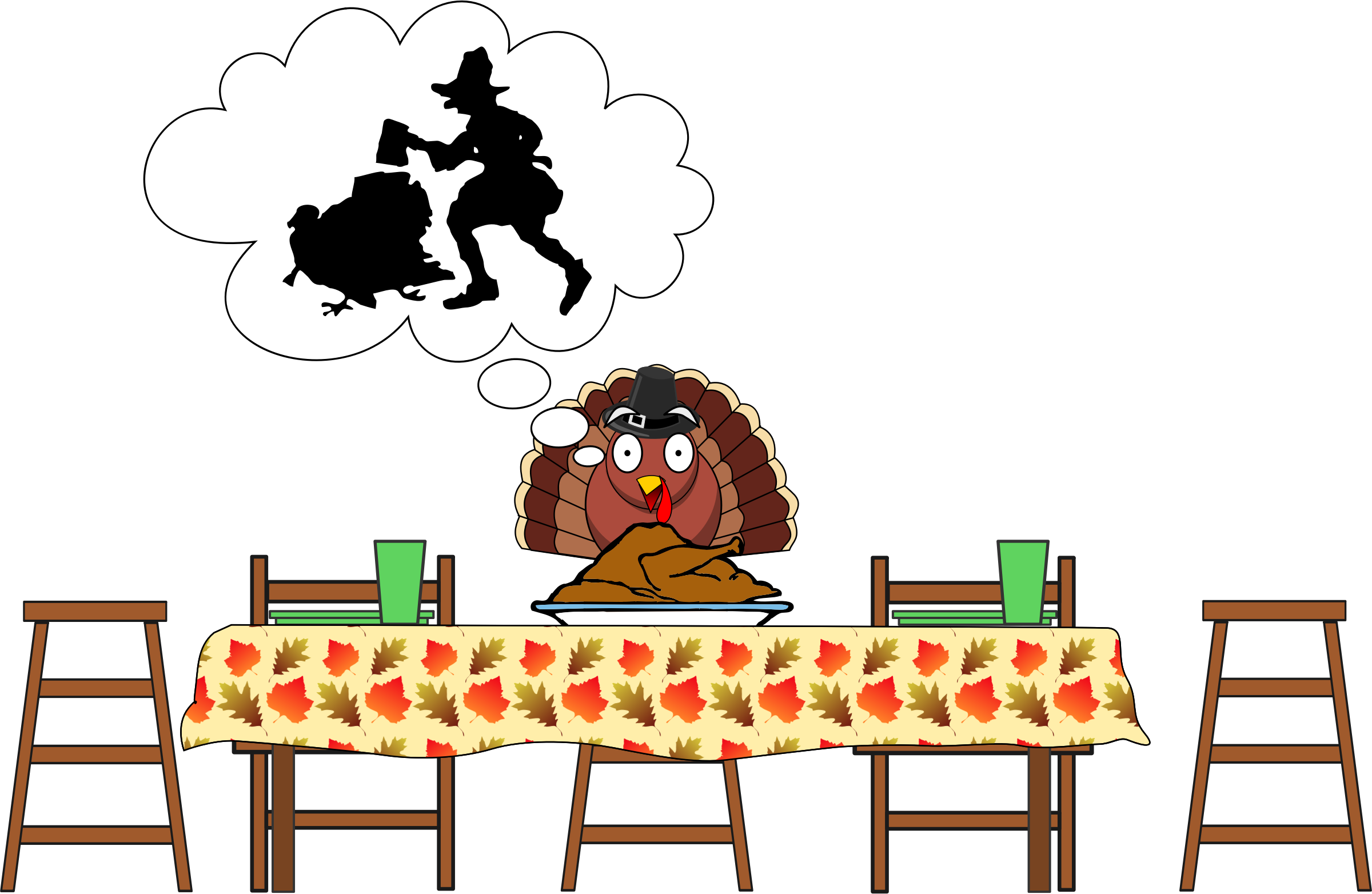 png royalty free Turkey scared big image. Clipart happy thanksgiving
