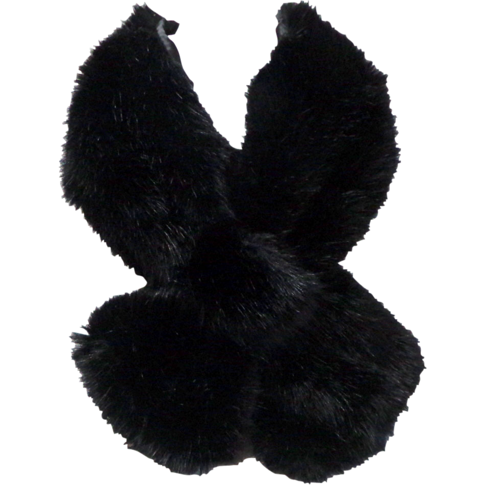 graphic transparent Faux Fox Fur Crossover Scarf
