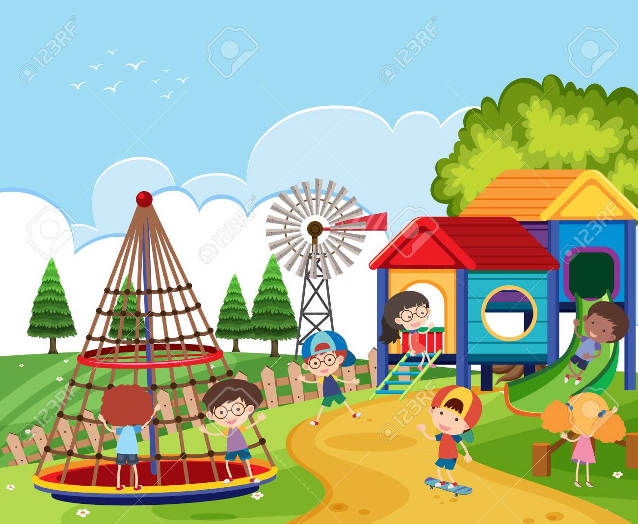svg free library Scene clipart. Playground x free clip.