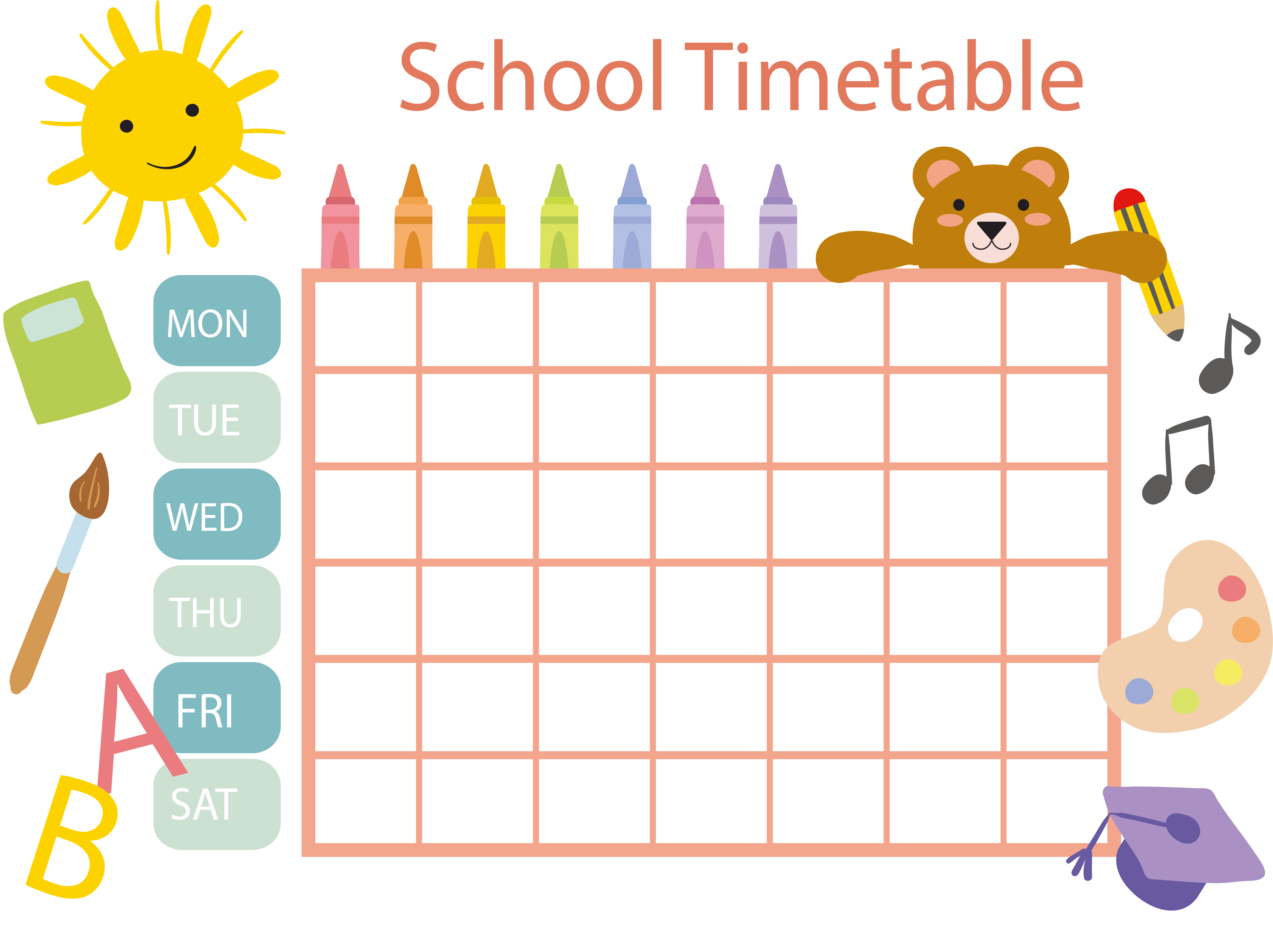 vector royalty free stock Schedule clipart. School timetable template clip.