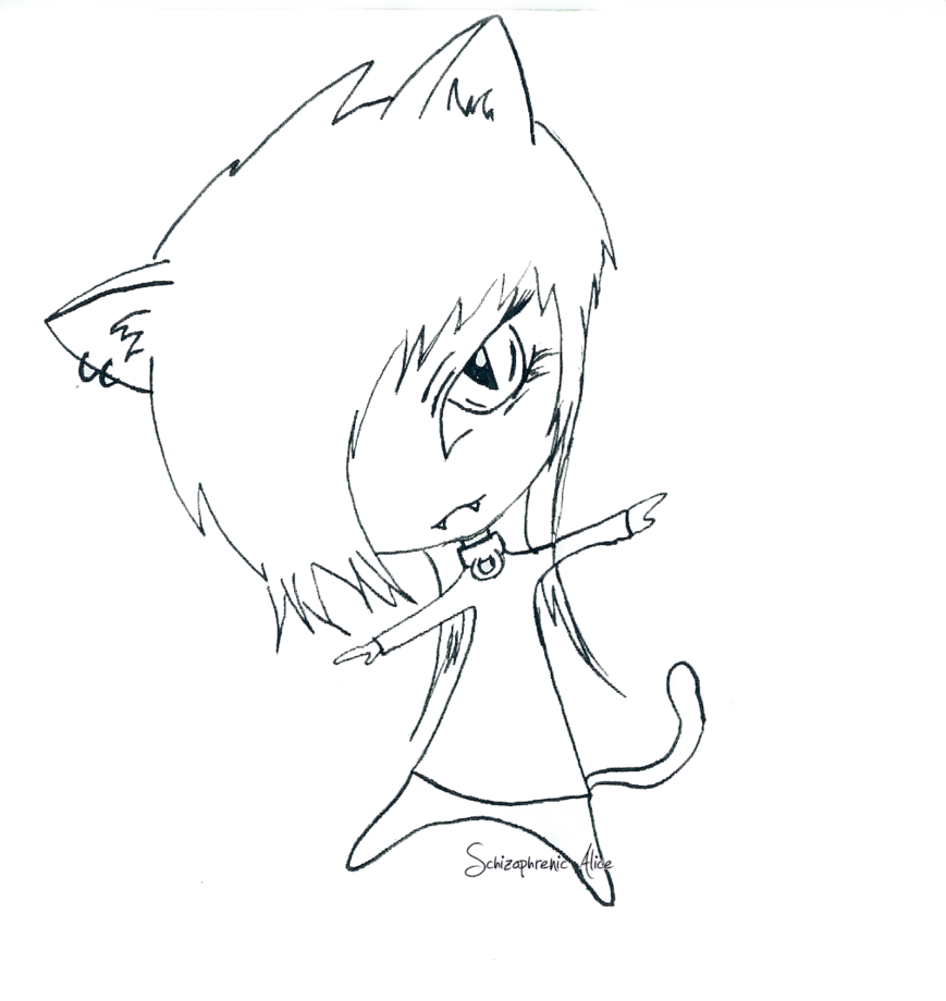 graphic royalty free Schizophrenic drawing. Chibi cat boy by