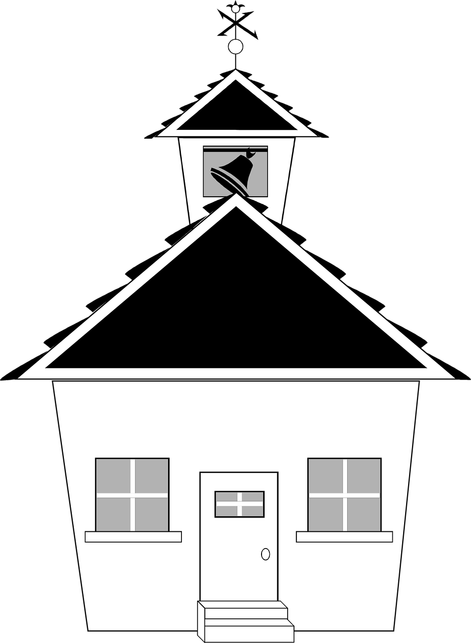 png royalty free download School building clipart black and white. Free stock photo illustration